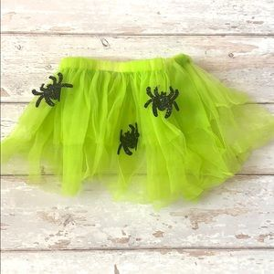 Girls 2T/3T Halloween Tutu Lime Green & Spiders